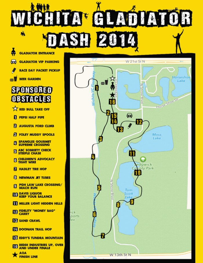 Wichita Gladiator Dash 2014 Course Map