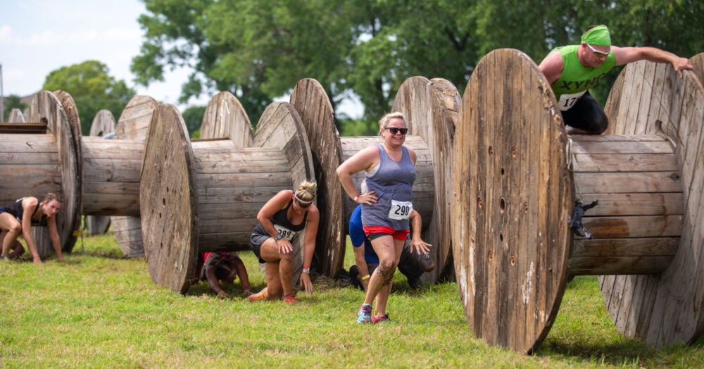 Runners on Obstacle Course